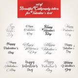 Sammlung, kalligraphische Buchstaben für Valentinsgruß ` s Tag simsen lizenzfreies stockbild