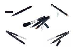 Sammlung Kosmetikmake-up Eyeliner, schwarzer Bleistiftlidstrich Stockbild