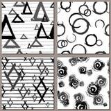 Sammlung kreative Hand gezeichnete nahtlose Muster Dreiecke, Tropfen, Raute, streift endlose Beschaffenheiten des Schmutzes Lizenzfreies Stockbild