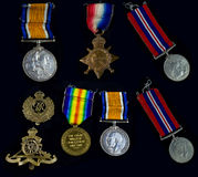 Sammlung Kriegs-Medaillen Lizenzfreies Stockfoto