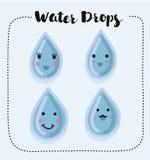 Sammlung lächelndes Wasser fällt mit verschiedenen Gesten Stockbild