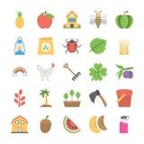 Sammlung Landwirtschaft und Landwirtschaft von flachen Ikonen Lizenzfreie Stockbilder