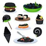 Sammlung Lebensmittelteller der schwarzen Farbe, Burger, Brombeeren, Lutscher, Sushirollen, kleiner Kuchen, Eistüte, Teigwaren vektor abbildung