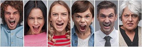 Sammlung Leute, die Ärger und Druck zeigen lizenzfreie stockfotos