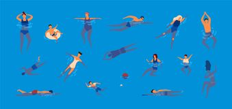 Sammlung Leute gekleidet in der Badebekleidung im Swimmingpool Bündel Männer und Frauen in den Badeanzügen, die Wasser durchführe lizenzfreie abbildung