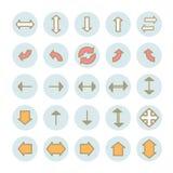 Sammlung lineare Ikonen der flachen Pfeile des Vektors Stockfotografie