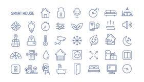 Sammlung lineare Ikonen des intelligenten Hauses - Steuerung der Beleuchtung, Heizung, Klimaanlage Satz Hausautomation und stock abbildung