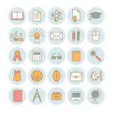Sammlung lineare Ikonen des Vektors: Schule und Bildung Stockfotos