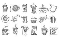 Sammlung lineare Kaffeeikonen Geschmackvolle und heiße Getränke Espresso, Latte, Cappuccino, Tee Grafische Elemente für stock abbildung