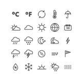 Sammlung lineare Wetterikonen Dünne Ikonen für Netz, Druck, bewegliche apps Stockbild