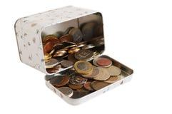 Sammlung Münzen auf einem weißen Hintergrund Stockbild
