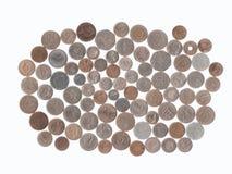 Sammlung Münzen von den verschiedenen Ländern geholt von den touristischen Reisen stockfotos