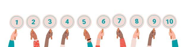 Sammlung m?nnliche und weibliche H?nde, die runde Karten oder Zeichen mit Menge Ergebnissen halten, erhielt in Konkurrenz, Turnie stock abbildung