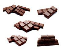 Sammlung Milchschokolade-Stangenstapels der Fotos des dunklen an lokalisiert Lizenzfreie Stockfotografie