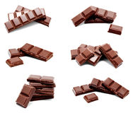 Sammlung Milchschokolade-Stangenstapels der Fotos des dunklen lokalisiert Stockfotos