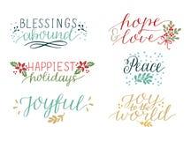 Sammlung mit 6 bunten Feiertagskarten ließ Handbeschriftung Segen Überfluss haben Frieden Freude zur Welt froh Hoffnung und stock abbildung