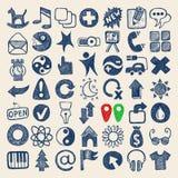 Sammlung mit 49 Handzeichnungsgekritzelnetz-Ikonen stock abbildung