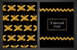 Sammlung moderne stilvolle Karten-allgemeinhinschablonen mit goldenen Schmetterlingen Kreative Hochzeit, Jahrestag, Geburtstag, V Lizenzfreie Stockfotografie