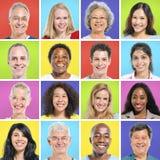 Sammlung multiethnische glückliche Menschen Lizenzfreies Stockbild