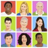 Sammlung multiethnischen Leute Vektors Stockbild