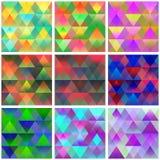 Sammlung nahtlose bunte Hintergründe mit abstraktem geome Stockfotografie