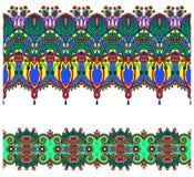 Sammlung nahtlose dekorative Blumenstreifen Lizenzfreies Stockbild