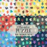 Sammlung nahtlose Hintergründe auf dem Thema des Puzzlespielrüttlers Lizenzfreie Stockbilder