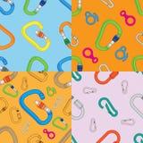 Sammlung nahtlosen Musters des vier Farbdes kletternden Ausrüstungs-Vektors Lizenzfreie Stockfotos