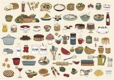 Sammlung nette Hand gezeichnete Lebensmittelillustrationen Stockfotos
