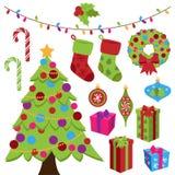 Sammlung nette Weihnachtsartikel lizenzfreie abbildung