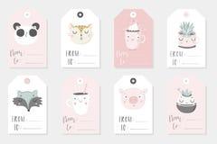 Sammlung netten kindischen gebrauchsfertigen Geschenks acht etikettiert lizenzfreie abbildung