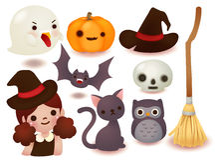 Sammlung netter Halloween-Ikone lizenzfreie abbildung