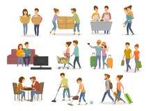 Sammlung nettes Paartätigkeits-, -mann- und -fraueneinkaufen im Mall, Supermarkt, an ziehend in ein neues Haus, Reinigung, aufpas stock abbildung