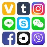 Sammlung neue Logos des populären Social Media vektor abbildung