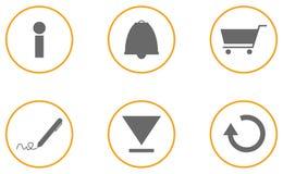 Sammlung orange Grau von 6 Website-Ikonen Stockfotografie