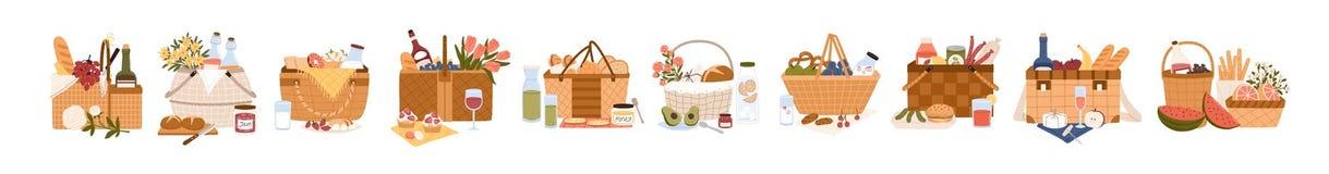 Sammlung Picknickkörbe voll von den köstlichen Mahlzeiten und von den Imbissen für Speisen das im Freien Bündel Fesseln für Nahru stock abbildung