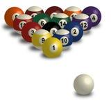 Sammlung Poolbälle, Snookerball auf weißem Hintergrund mit Schatten Stockbild