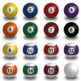 Sammlung Poolbälle, Snookerball auf weißem Hintergrund mit Schatten Lizenzfreies Stockbild