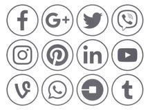 Sammlung populäre graue runde Social Media-Ikonen mit Kante vektor abbildung