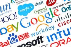 Sammlung populäre Internet-Firmen druckte auf Papier