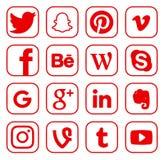 Sammlung populäre Social Media-Logos lizenzfreie abbildung