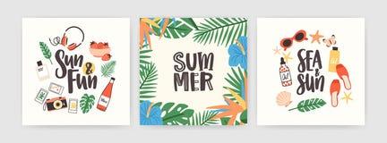 Sammlung quadratische Sommerkarten mit dem Beschriften handgeschrieben mit elegantem Kursivguß und Saisondekorationen - Blätter vektor abbildung