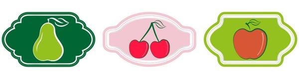 Sammlung Retro- Aufkleber, Ausweise und Ikonen der frischen Frucht des Schmutzes der Weinlese Lizenzfreie Stockfotos