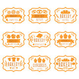 Sammlung Retro- Bäckereiaufkleber der Weinlese mit Brot, Brezel Lizenzfreie Stockbilder