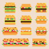 Sammlung Retro- Pixelhamburger im Vektor Stockfotos
