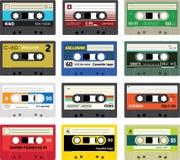 Sammlung Retro- Plastikaudiokassetten Stockfoto