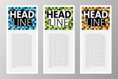 Sammlung Retro- quadratische Blöcke, Pixeltextbox für Netz, APP, Zeitschrift usw. Rand der Farbband-, Lorbeer- und Eichenblätter stockfoto