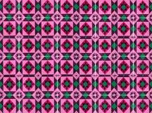 Sammlung rosa und grüne Musterfliesen stockbild