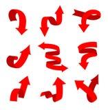 Sammlung Rot gebogene Pfeile stock abbildung