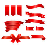 Sammlung rote Bänder Stockfotografie